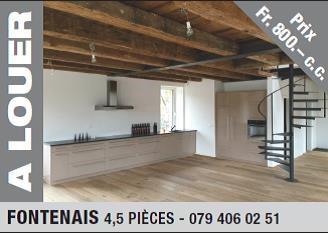 Magnifique appartement de 4.5 pces à louer à Fontenais 8984123