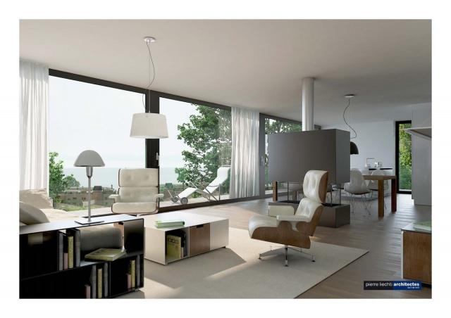 Neuchâtel-est, villas d'architecture contemporaine, vue lac  11221224