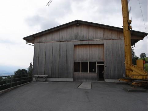 Werkhalle / Zimmerei mit Baukran