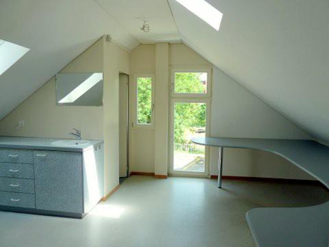 Büro/ Atelier mit Einbauschänken, Lavabo und sep. WC mit Archivraum