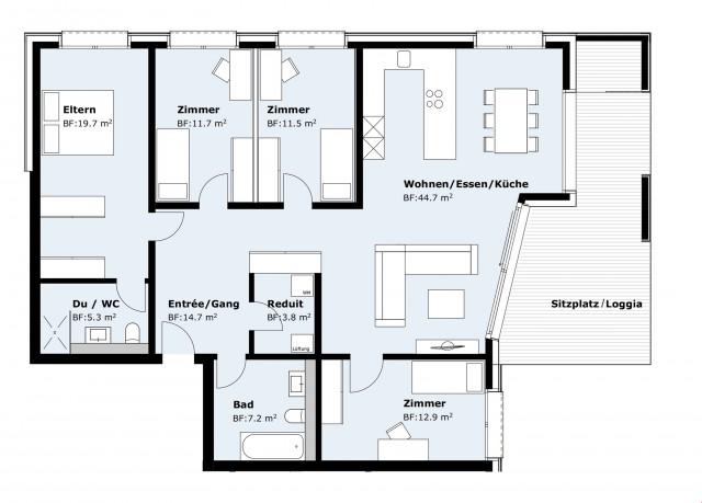 4.5 bis 5.5 Zimmer-Wohnung zu verkaufen 23310770