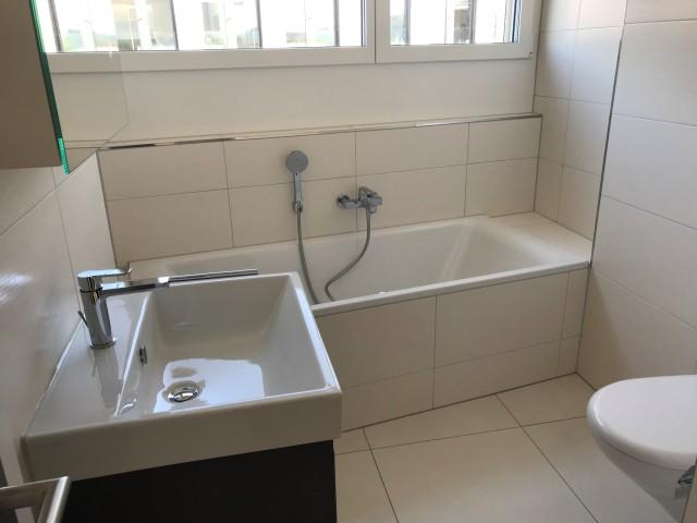 Badezimmer mit bequemer Wanne und Dusche mit Glastüren