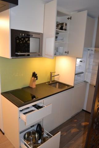 Apartment Stanserhorn/Bürgenstock, Küche vollausgestattet und eingerichtet: Induktionsherd, Microwelle mit Crisp-Funktion, Gesch