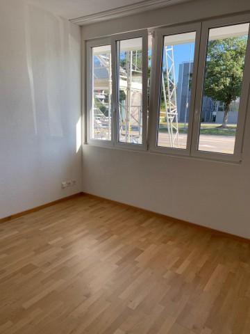 Blick vom hellen Wohnzimmer