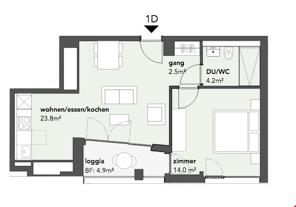 Moderne 2-Zimmerwohnung in Muttenz 31126315