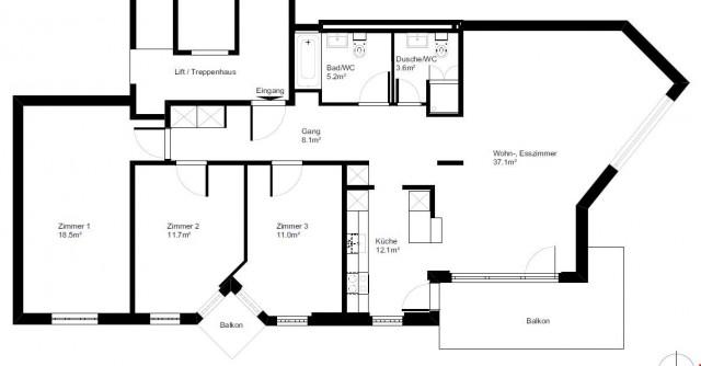 4 ½ Zimmer-Wohnung, 108 m2, 4. OG in 6015 Luzern, Waldstrass 32370151