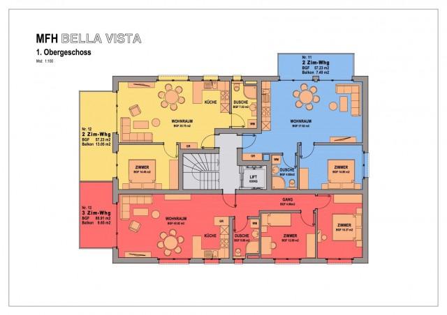 2 1/2-Zimmerwohnung blau markiert