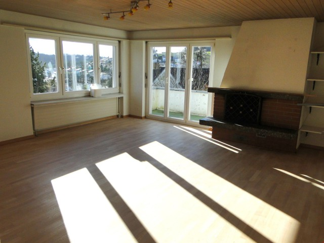 Wohnzimmer, Cheminée, Balkon
