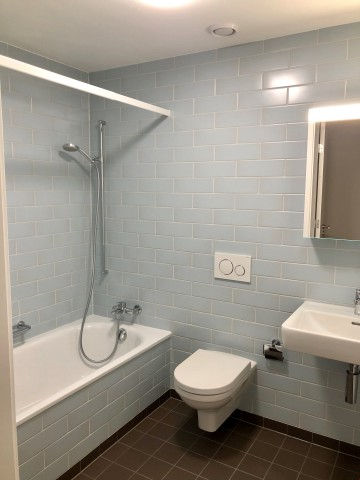 Badezimmer mit Badewanne und WC