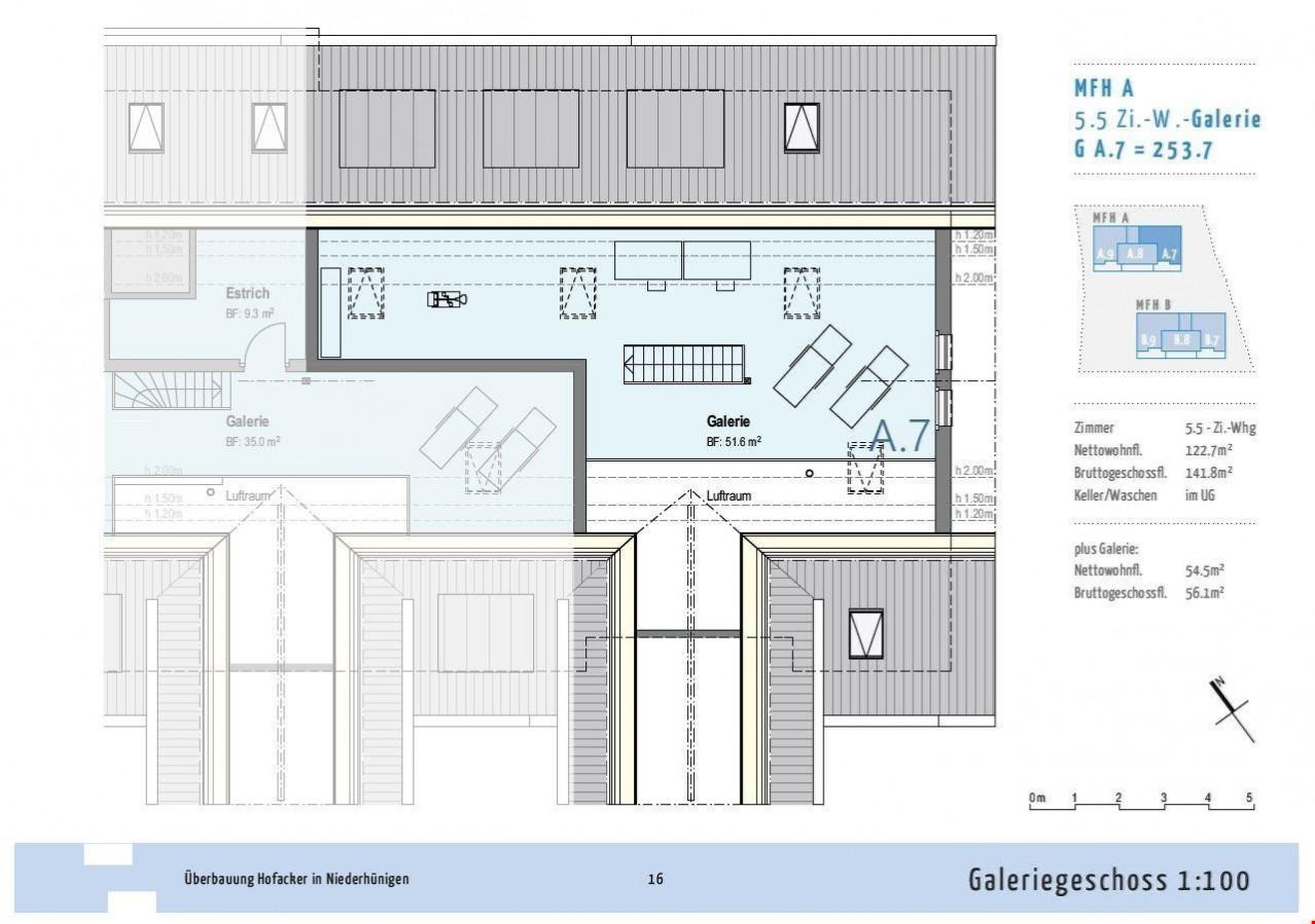 5½ Zimmer Dach Wohnung Grundriss Galerie   Haus A