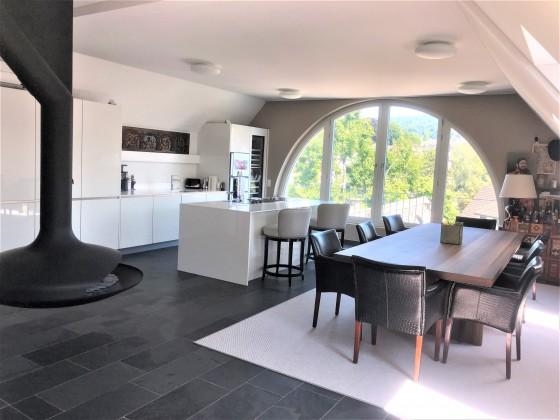 Wohnküche mit grossem Esstisch, Designerkamin und Panoramafenster in den Botanischen Garten