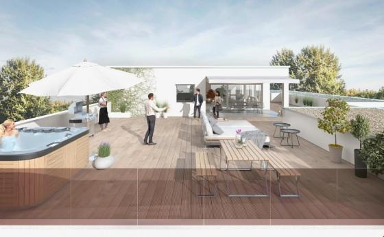 neubau vollgeschossige 4 5 zimmer attika wohnung. Black Bedroom Furniture Sets. Home Design Ideas
