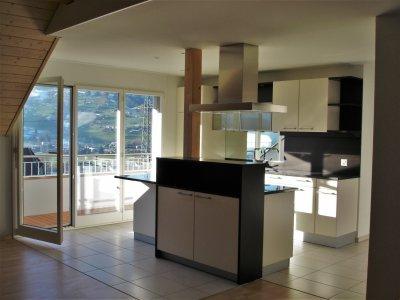 Küche mit Kochinsel und Ausgang Balkon West