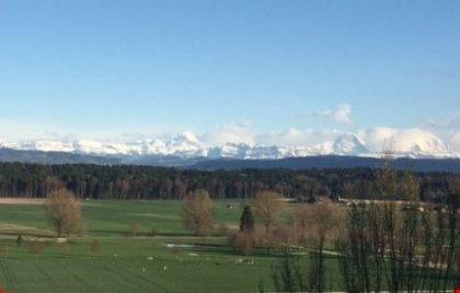 grandiose Aussicht auf Alpenkette und Golf Limpach