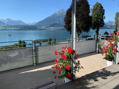 Wunderschöne Aussicht über den See in die Berner Alpenkette