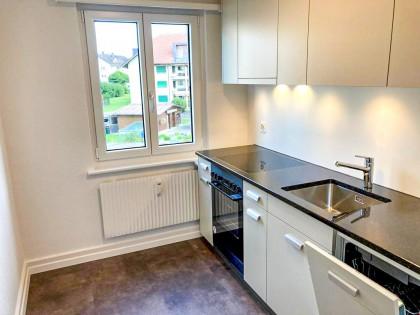 Neue Küche mit Natursteinabdeckung, Glaskeramikherd, Geschirrspühler, Dampfabzug