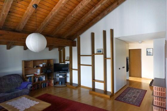 Grosszügiges, offenes Wohnzimmer mit Einbauregalen