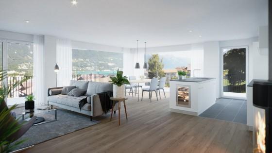 Visualisierung Wohnzimmer / Küche der 3.5-Zimmer Wohnung 1.OG