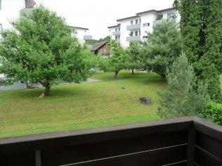 Aussicht ins Grüne vom Balkon aus