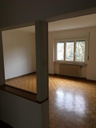 Wohnzimmer mit Glastüre und Glastrennwand